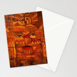 Indigenous Inca Sun God Inti portrait painting by Ortega Maila Stationery Cards