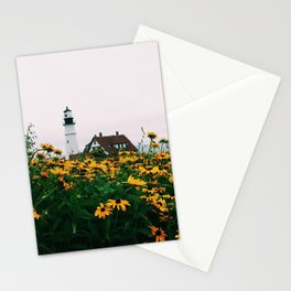 Portland Headlight and Flowers Stationery Cards