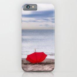 Red Umbrella at the beach iPhone Case