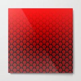 Black and Red Pentagram Damask Pattern Metal Print