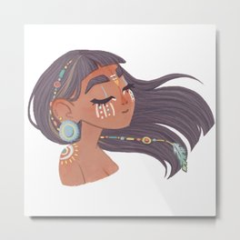Feel the wind native girl - connect with nature mood, body painted avatar pocahontas Metal Print