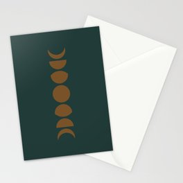 Minimal Moon Phases - Deep Green Stationery Cards