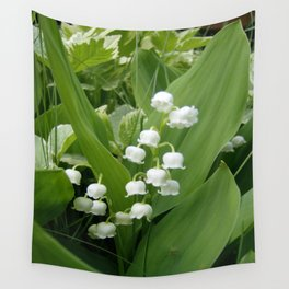 Pure White Lily of the Valley Flower Macro Photograph Wall Tapestry