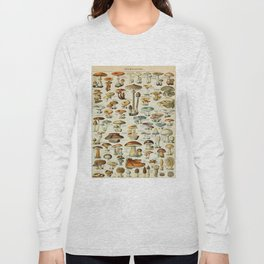 Mushrooms Vintage Scientific Illustration French Language Encyclopedia Lithographs Educational Long Sleeve T-shirt