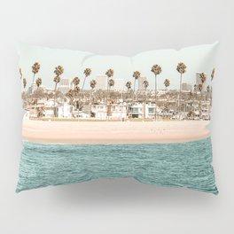 Vintage Newport Beach Print {1 of 4}   Photography Ocean Palm Trees Teal Tropical Summer Sky Pillow Sham