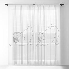 One line Pug Downward Dog Sheer Curtain