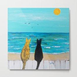 Seaside Cats Metal Print