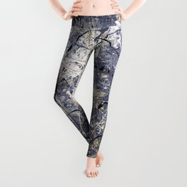 Orion - Jackson Pollock style abstract drip painting by Rasko Leggings
