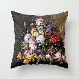 Vintage Varnish- Flowers&Fruit Throw Pillow