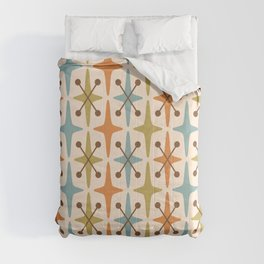 Mid Century Modern Abstract Star Pattern 441 Orange Brown Blue Olive Comforters
