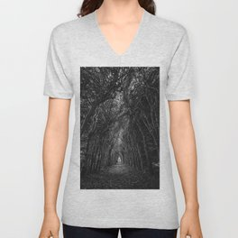The Haunted Forest Path Black and White Photographic Art Print Unisex V-Neck