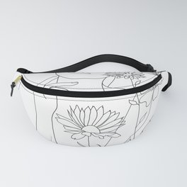 Minimal Line Art Woman with Flowers III Fanny Pack