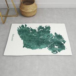 Ireland Watercolor Map Art by Zouzounio Art Rug