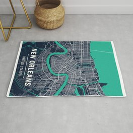 New Orleans Blue Dark Color City Map Rug