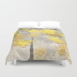 Abstract Yellow and Gray Trees Duvet Cover