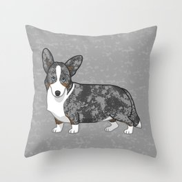 Cute Blue Merle & Tan Cardigan Welsh Corgi Dog Throw Pillow