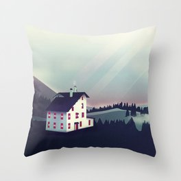 Castle in the Mountains Throw Pillow