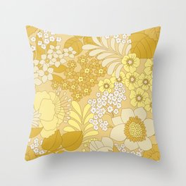 Yellow, Ivory & Brown Retro Floral Pattern Throw Pillow