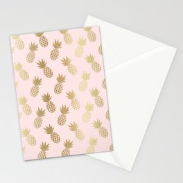 Pink & Gold Pineapples Pattern Stationery Cards