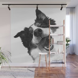Black and White Happy Dog Wall Mural