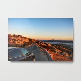Panoramic road to La Maddalena, Italy Metal Print