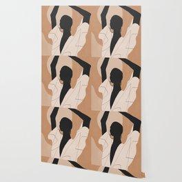 Minimal Abstract Art Sunset Girl 2 Wallpaper