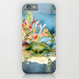 Watercolor Under Sea Collection: Crab and Coral iPhone Case
