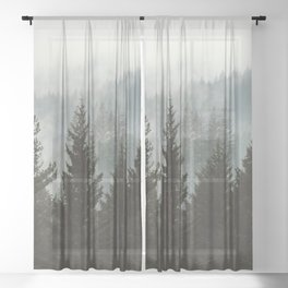 Forest Fog Mountain IV - Wanderlust Nature Photography Sheer Curtain