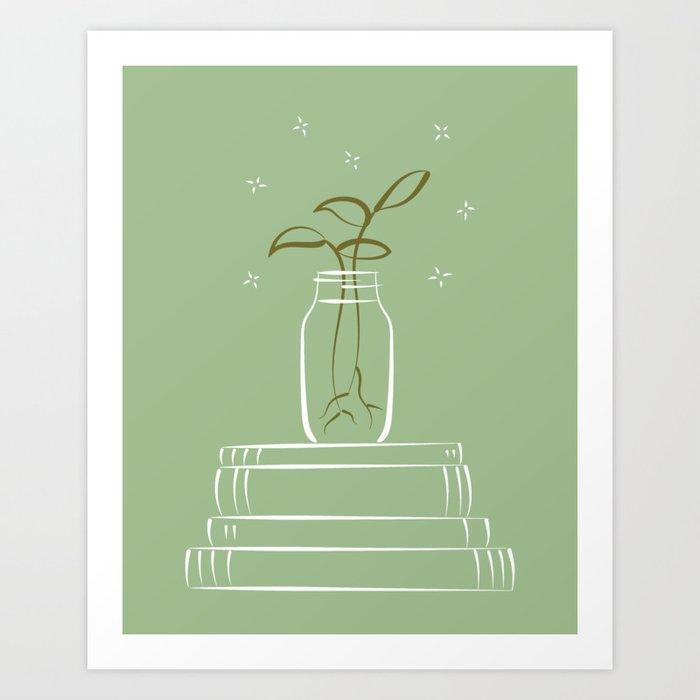 Green propagating plant and books illustration Art Print