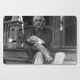 Albert Einstein in Fuzzy Slippers Classic Black and White Satirical Photography - Photographs Cutting Board