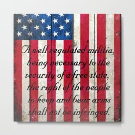2nd Amendment on American Flag - Vertical Print Metal Print