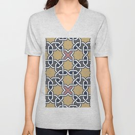 Entwined graphic Lines Home Design - mosaic grey beige Unisex V-Neck