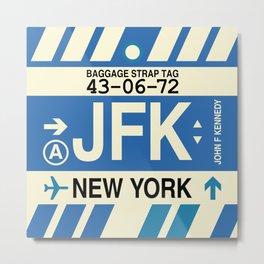 JFK New York • Airport Code and Vintage Baggage Tag Design Metal Print