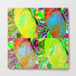 Tropical Leaf Pop Art Raindrops on Leaves in Bright Neon Colors Metal Print