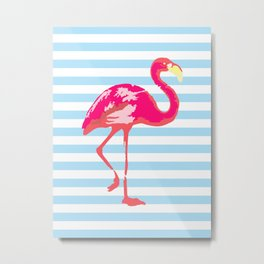 Flamingo poster, t-shirt, tropical summer, pink in blue stripes Metal Print