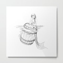 Mermaid and barrel Metal Print