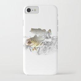 Largemouth Black Bass Fishing Art iPhone Case