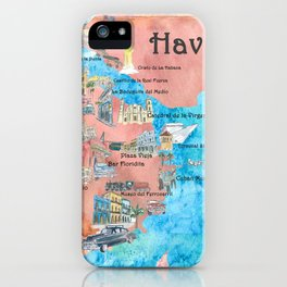 Havana Cuba Illustrated Travel Poster Favorite Sightseeing Map iPhone Case