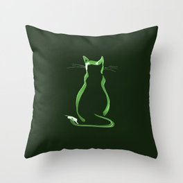 Sitting Cat from behind in Green Throw Pillow