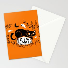 Spooky Cat - Mid Century Vintage Orange Stationery Cards