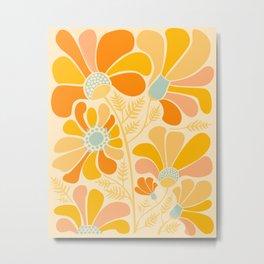 Sunny Flowers / Floral Illustration Metal Print