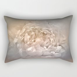 Blushing Silver and Gold Peony - Floral Rectangular Pillow