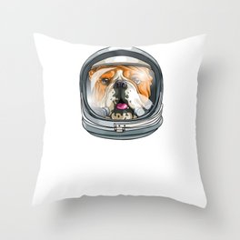 I Need More Space Astronaut Bulldog Outserspace Science Geek Throw Pillow