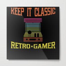 Classic Retro Gamer Playing Arcade Metal Print