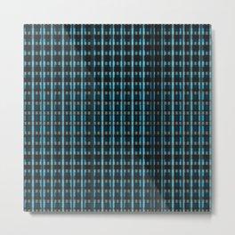 Blue Black Plaid Print  Metal Print