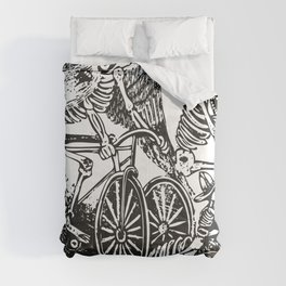 Calavera Cyclists | Day of the Dead | Dia de los Muertos | Skulls and Skeletons | Vintage Skeletons | Black and White |  Comforters