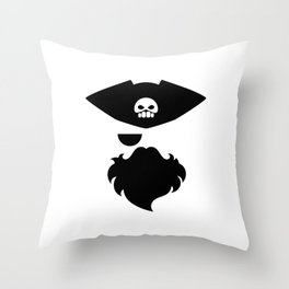 Pirate abstract drawing with skull on the hat Throw Pillow