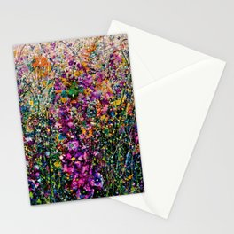 Hollyhock Fantasy Pollock Style Painting  Stationery Cards