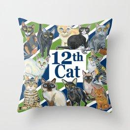 12th Cat Throw Pillow