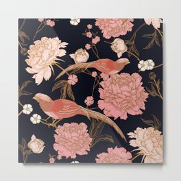 Two Pretty Birds | Chinese Oriental Design | Pink Floral Wildlife |  Metal Print